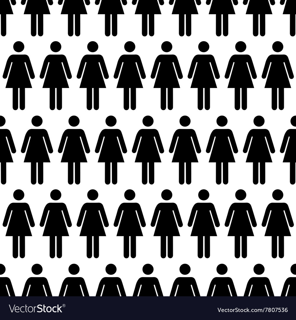 Crowd of black simple women icons on white