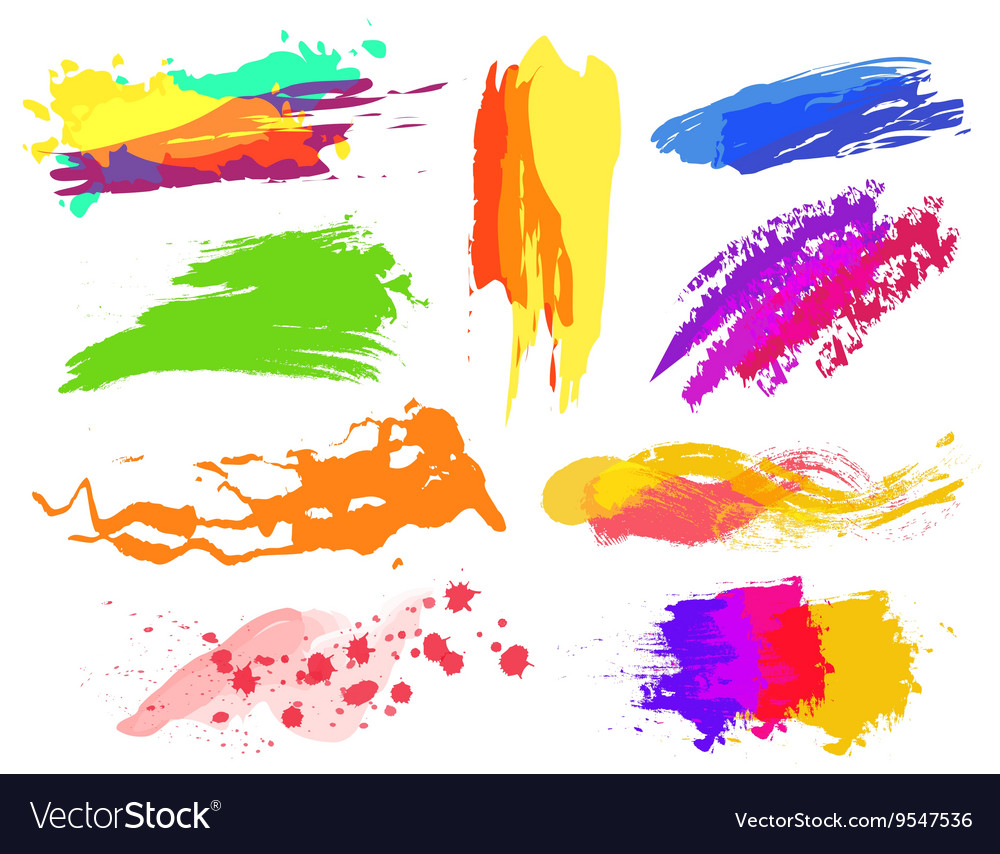 Handmade colorful paint strokes collection