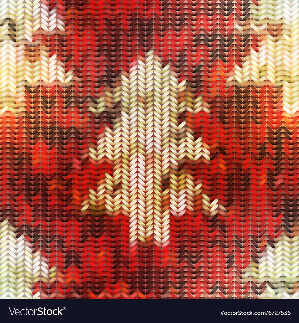 Knitted texture with Christmas tree images on red
