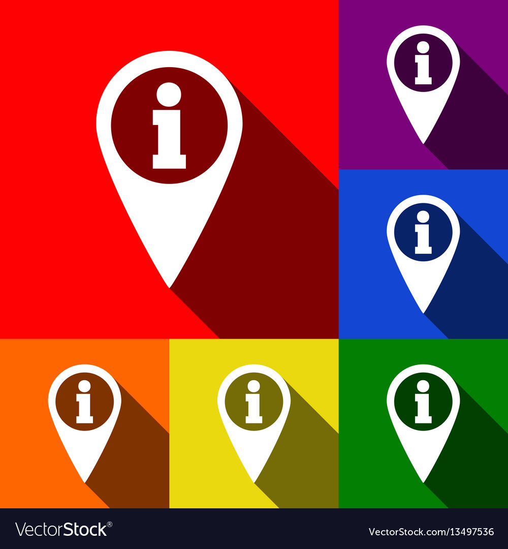 Map pointer with information sign set of vector image