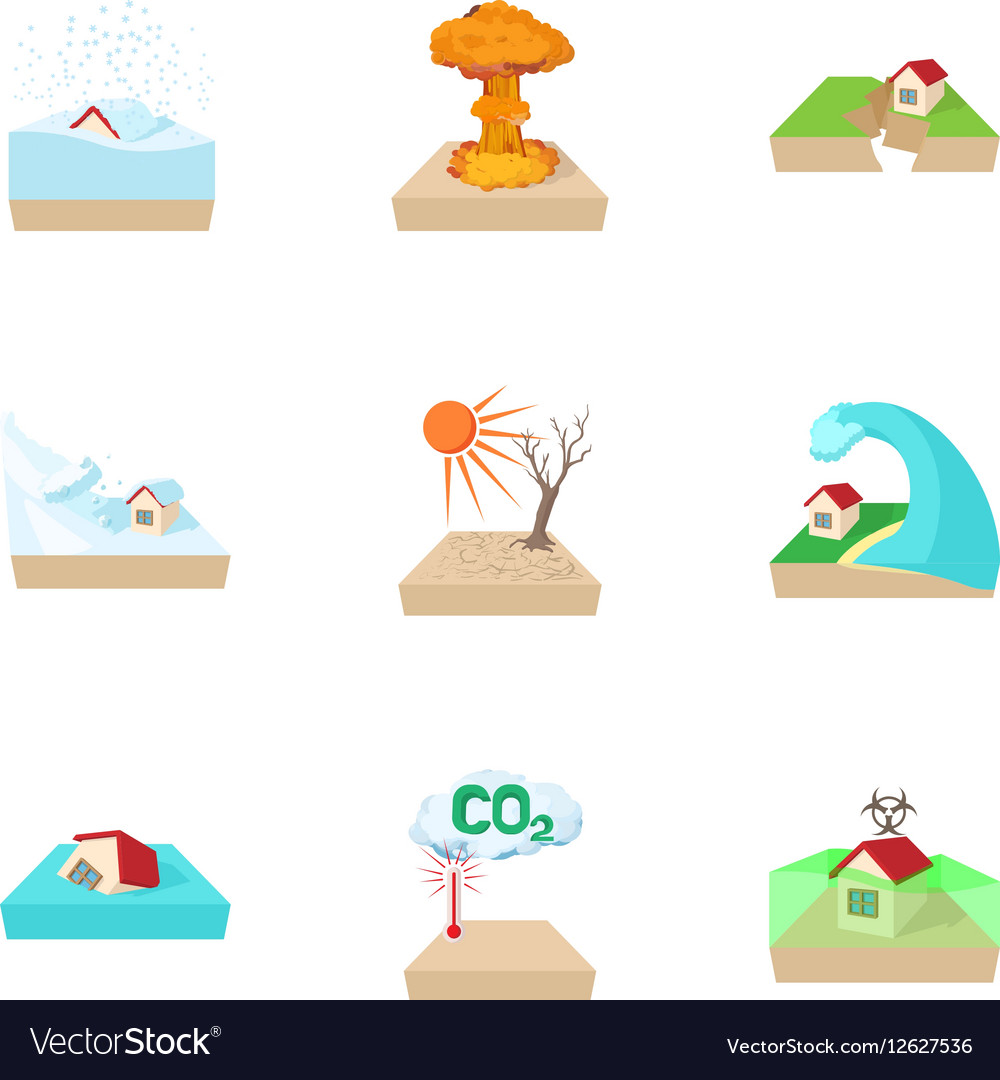 Natural emergency icons set cartoon style