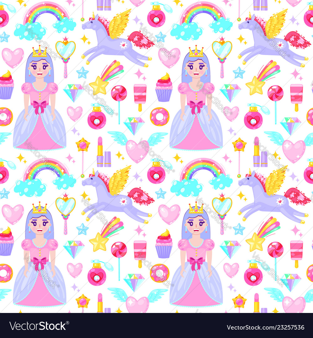 Pattern with cute princess