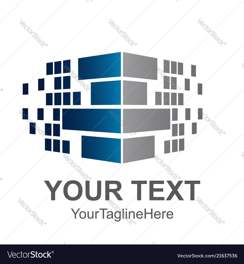 Pixel wall corner logo element for construction