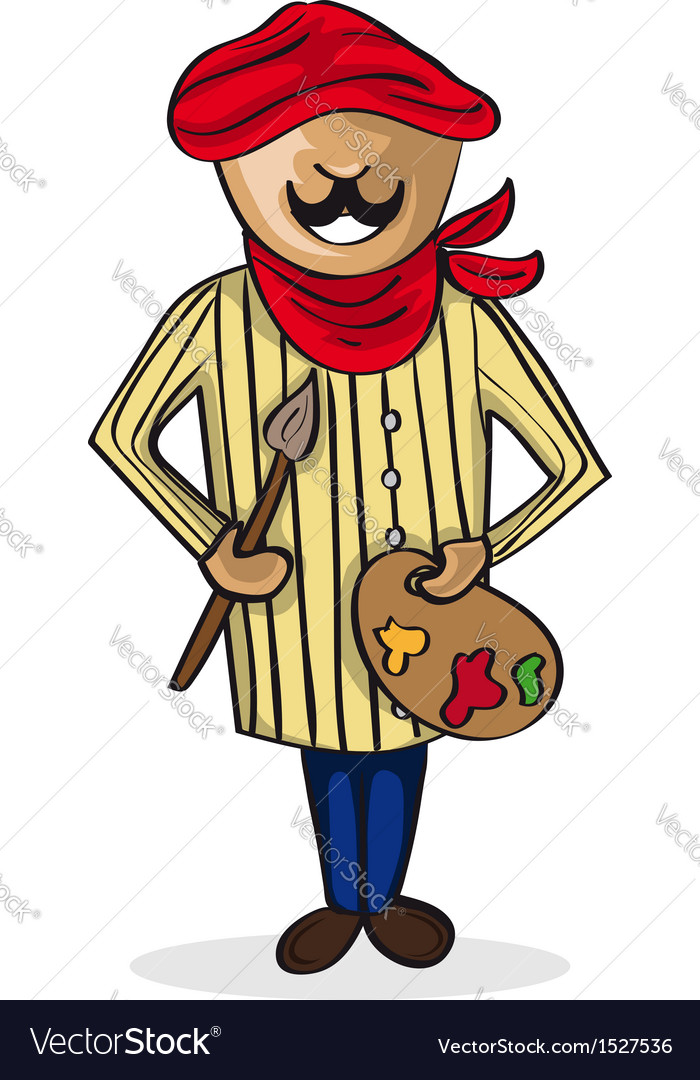 Profession painter artist man cartoon figure vector image
