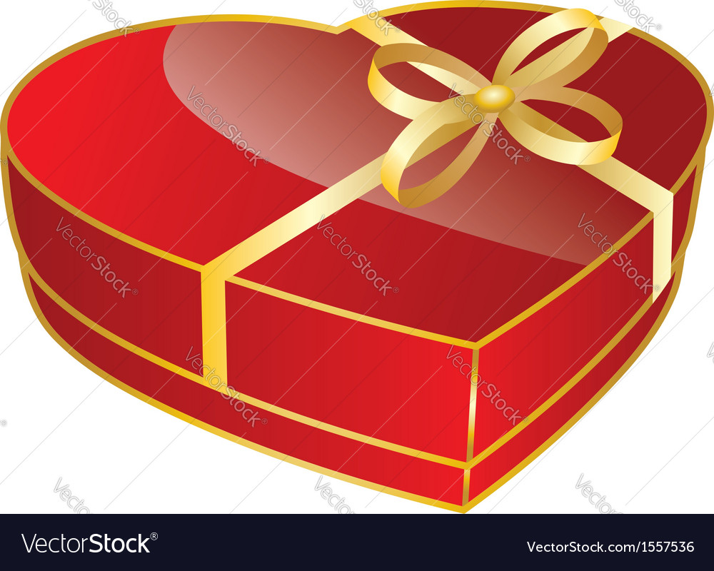 Red heart shaped gift box vector image & Red heart shaped gift box Royalty Free Vector Image