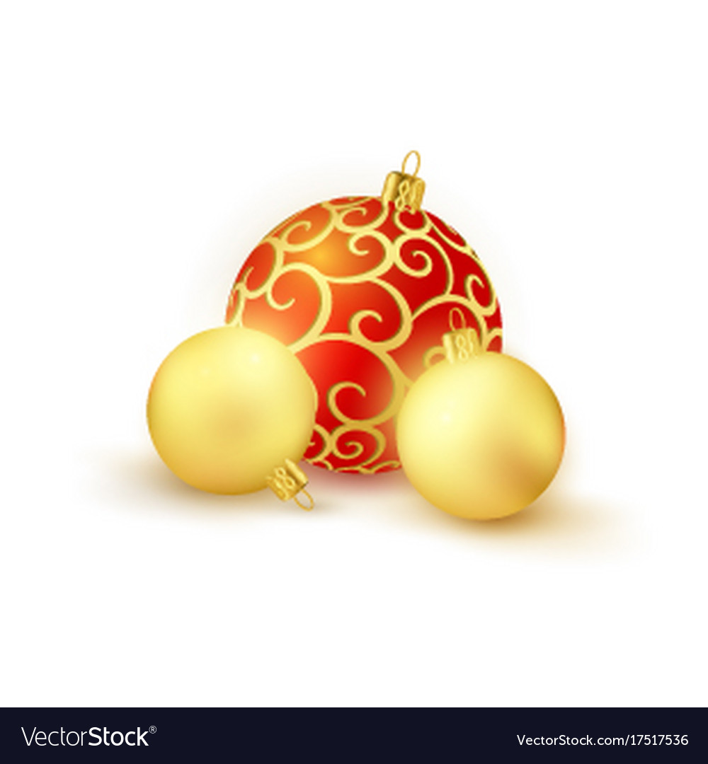 set of 3 red and golden christmas balls isolated vector image - Golden Christmas 3