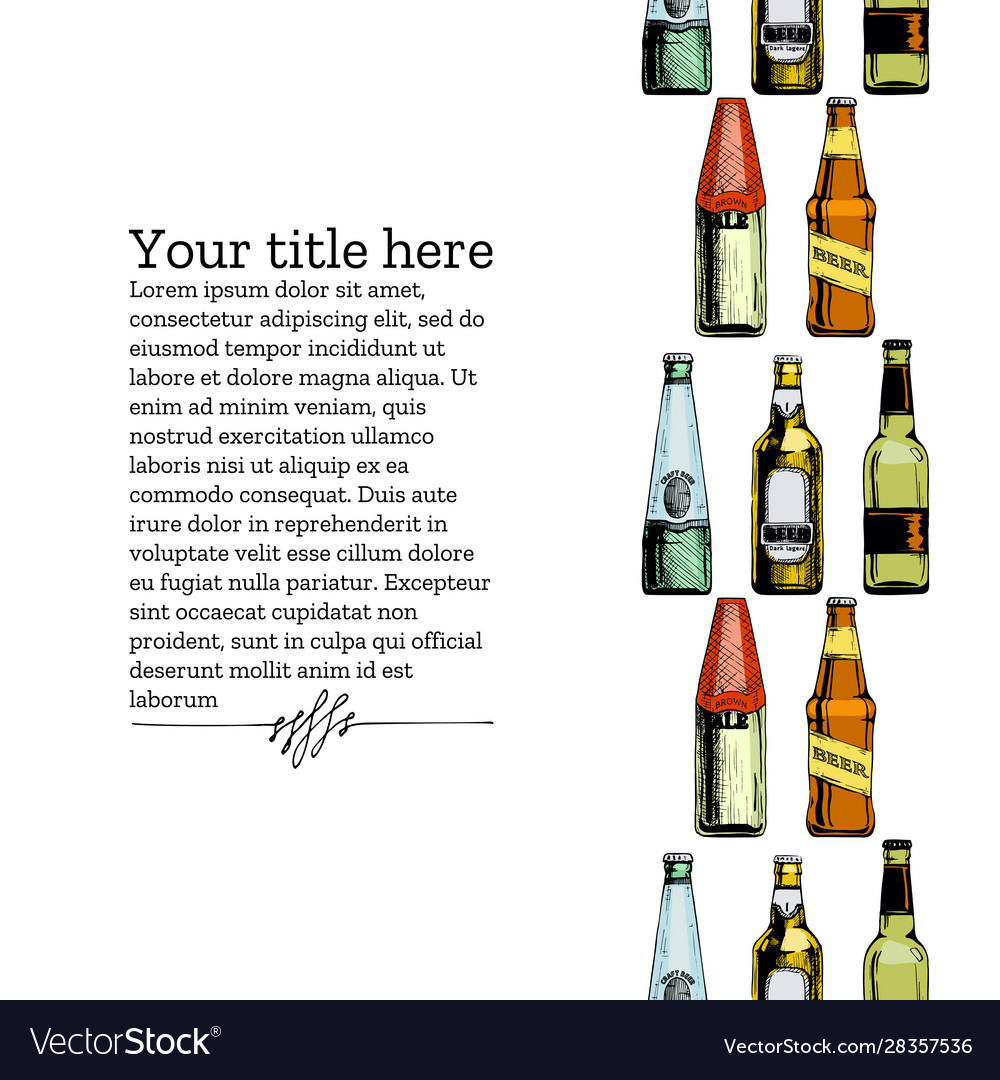 Template with different beer bottles