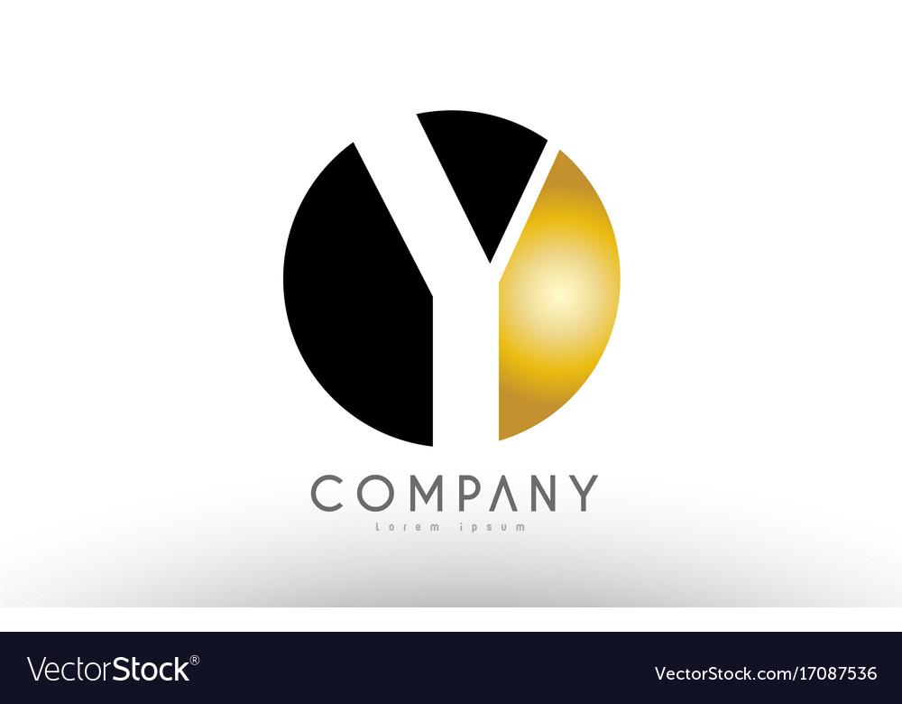 Y Black White Gold Golden Letter Logo Design Vector Image