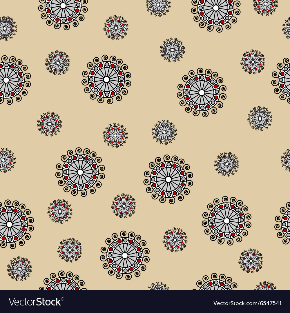 Abstract seamless pattern with swirls on beige