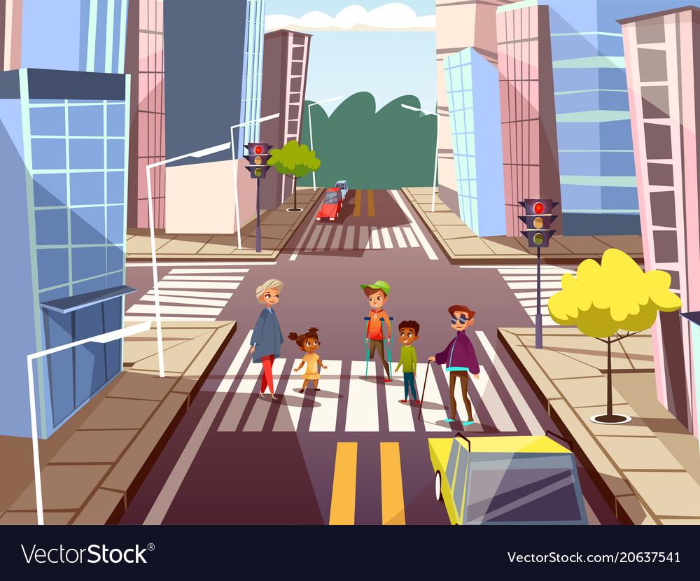 Cartoon people crossing road concept