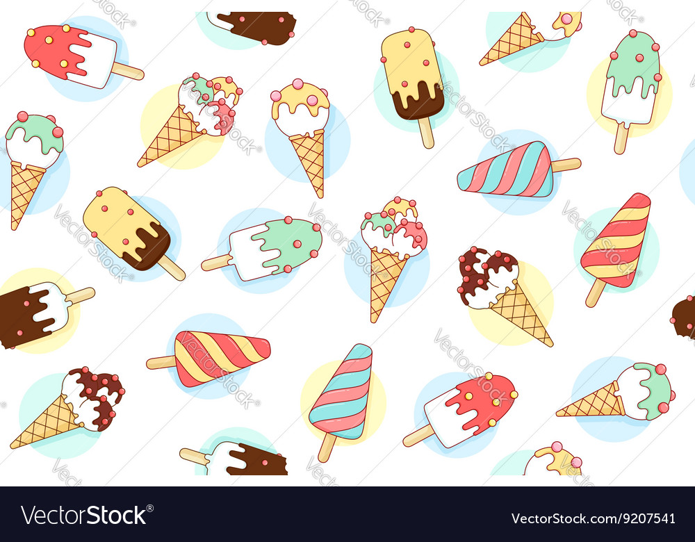 Colorful seamless pattern with ice cream different
