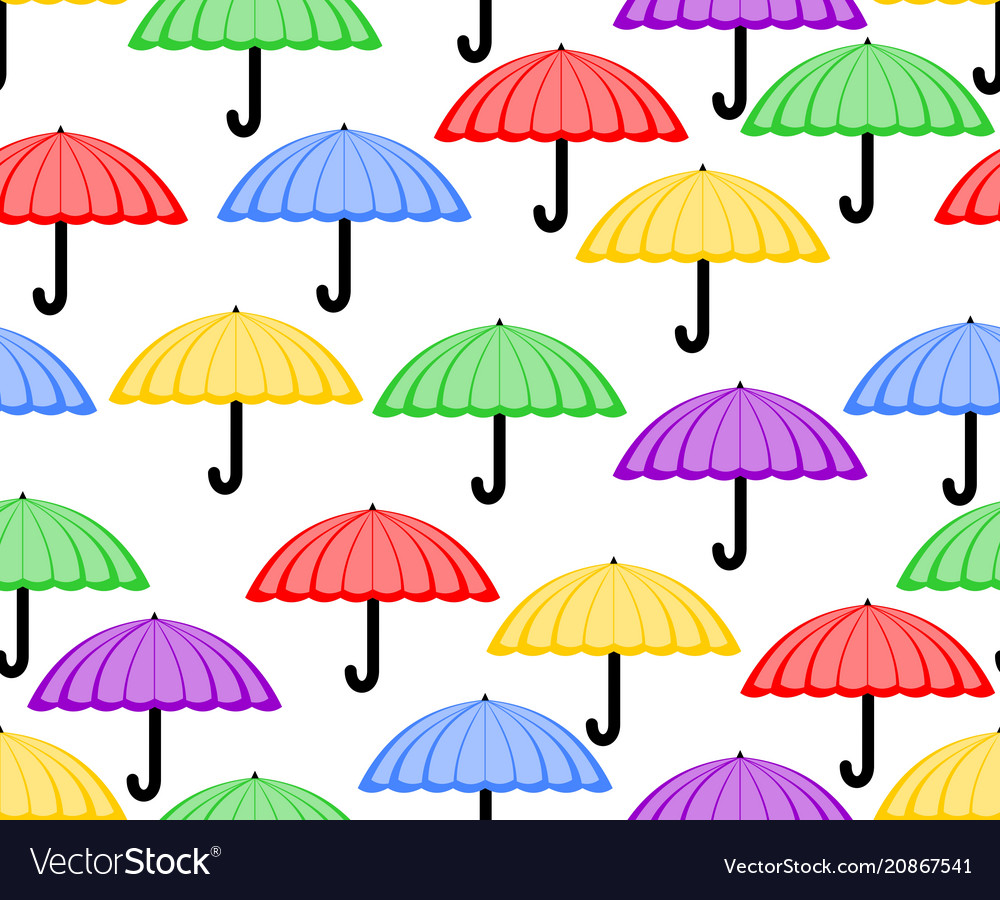 Cute seamless background with umbrellas in red