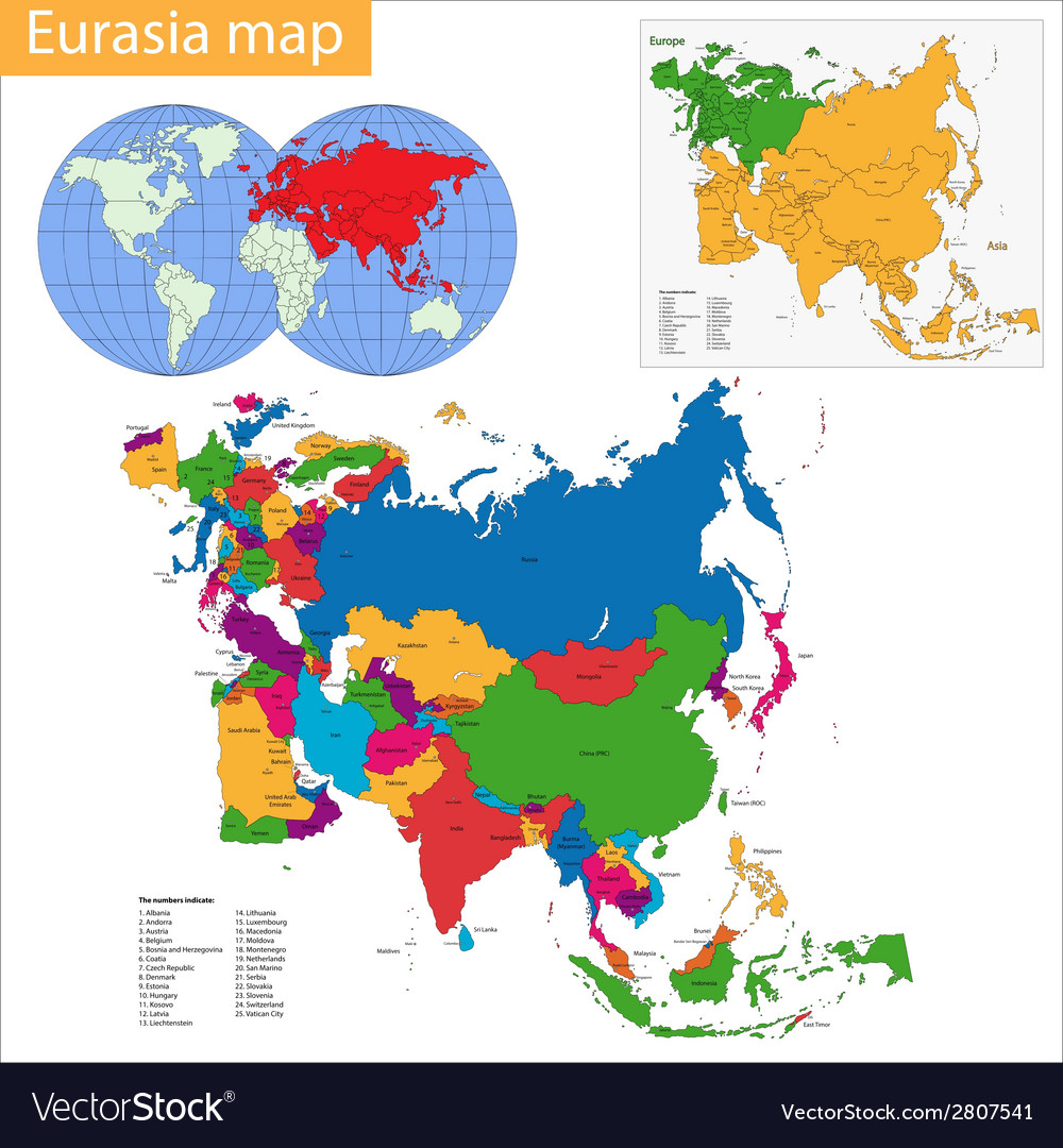 Picture of: Eurasia Map Royalty Free Vector Image Vectorstock