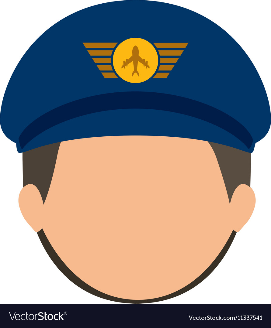 Front face pilot with hair and hat Royalty Free Vector Image