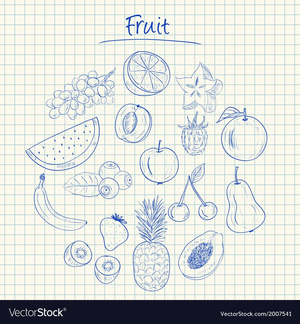 Fruit doodles squared paper