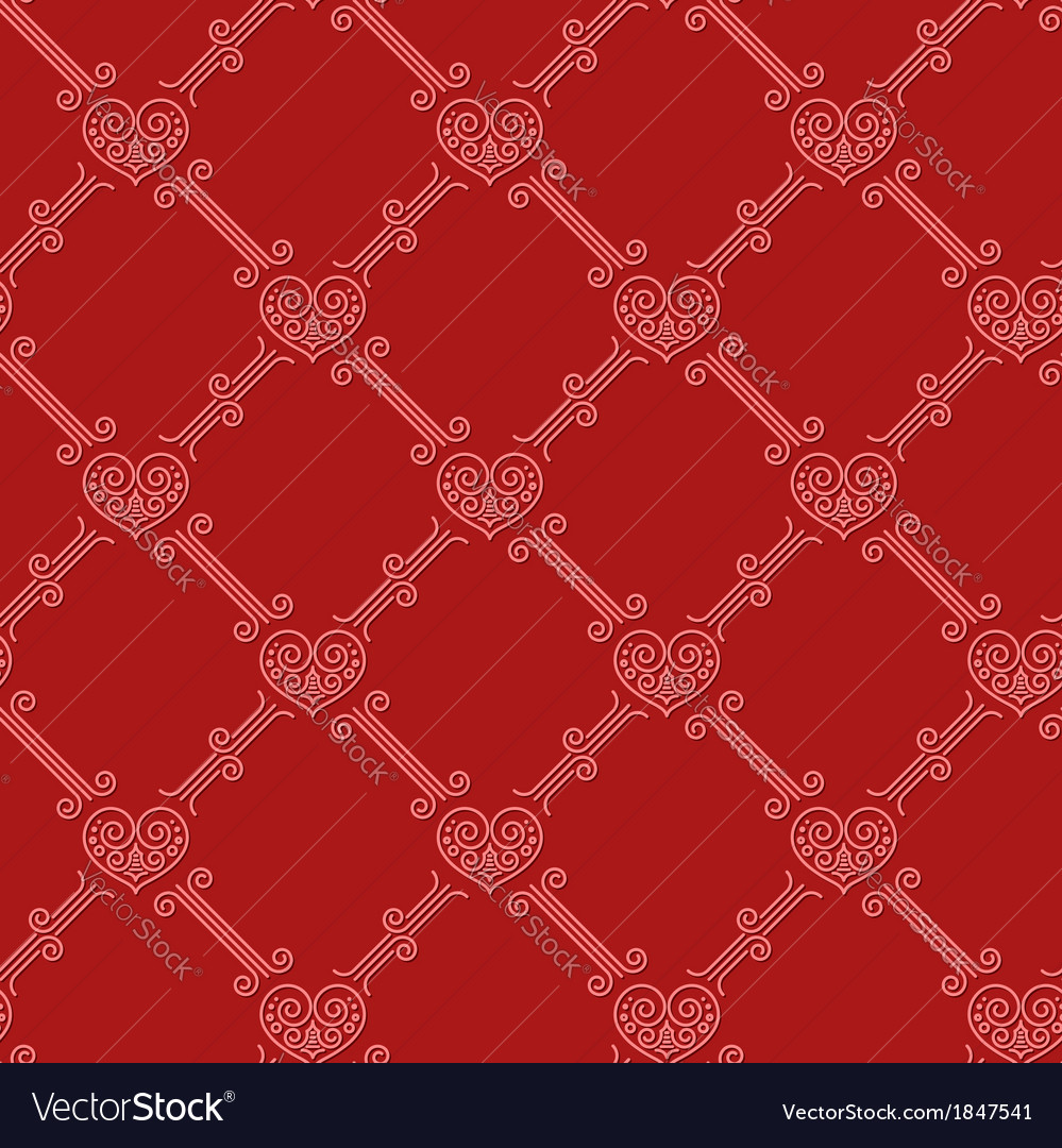 Ornamental seamless pattern with hearts on red vector image