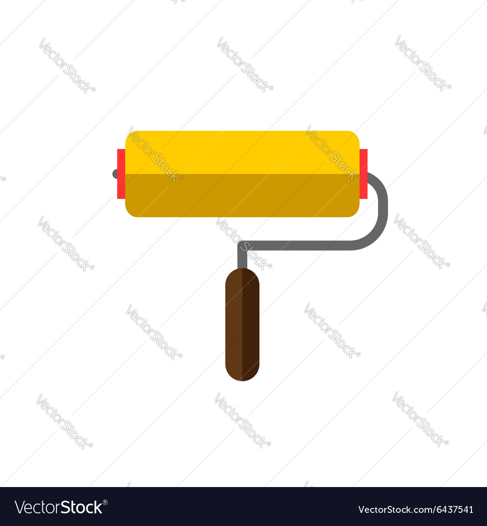 Paint roller on white background flat vector image