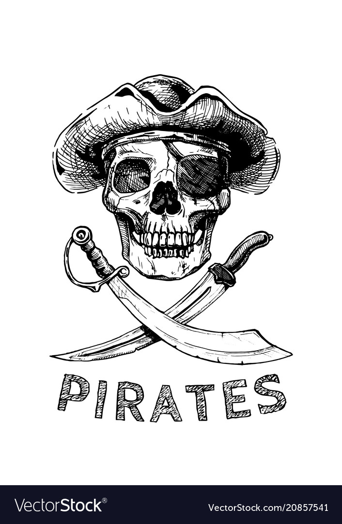 Pirate skull with cross swords