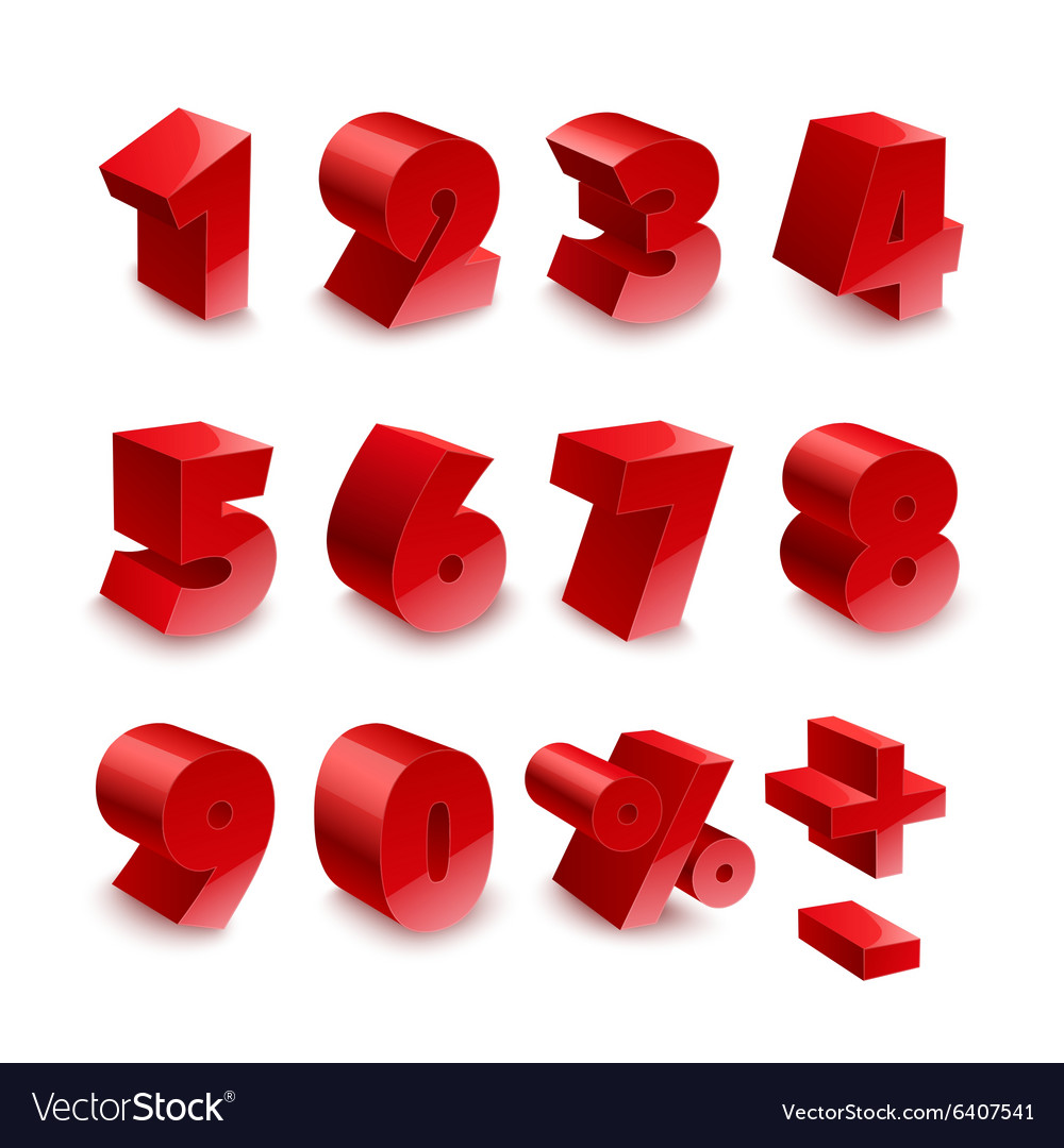 Red shiny 3d thick numbers isolated font on white