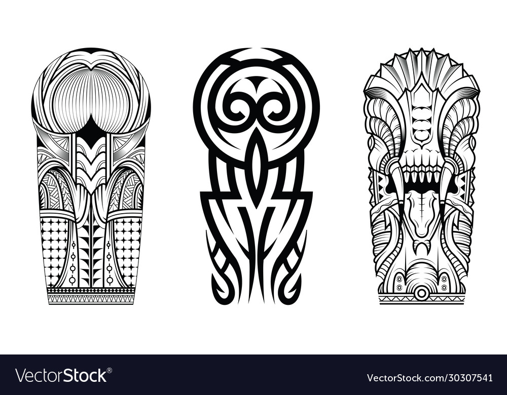 Tattoo abstract black arm template set