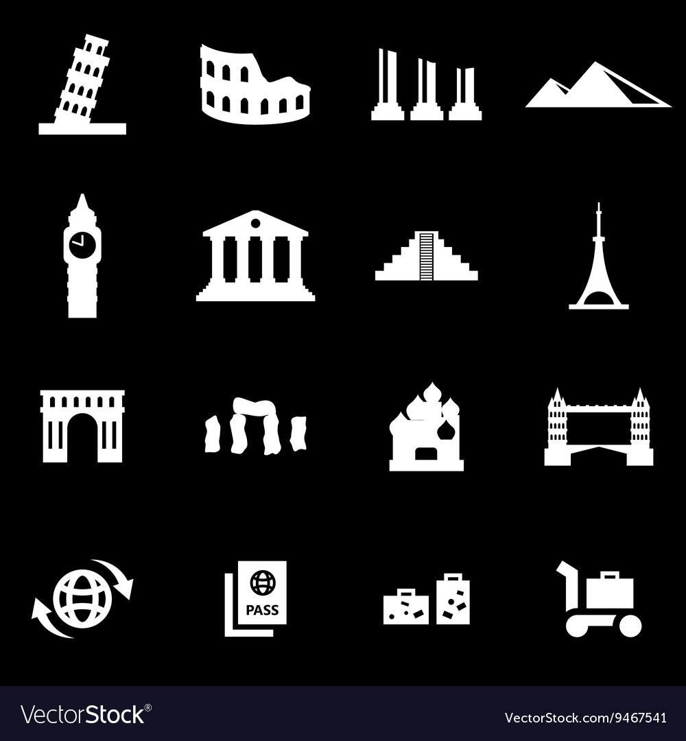 White landmarks icon set