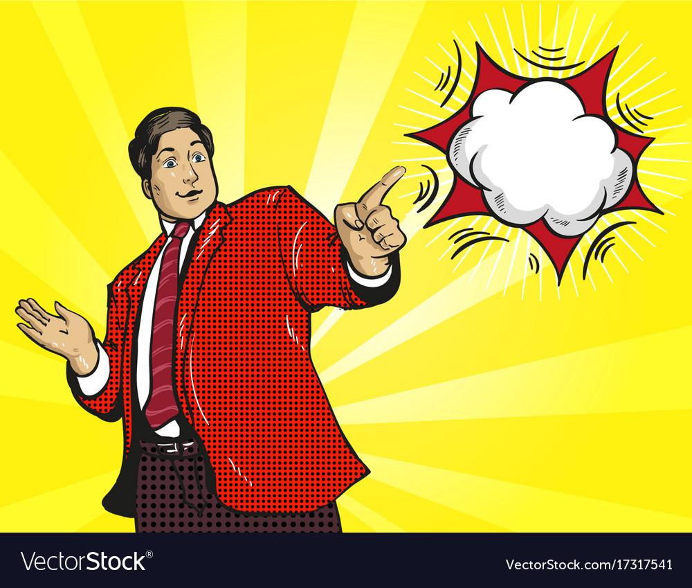Wow reaction man businessman surprised retro comic