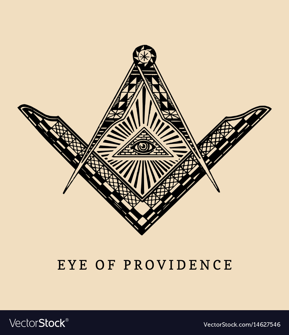 All-seeing eye of providence masonic square and