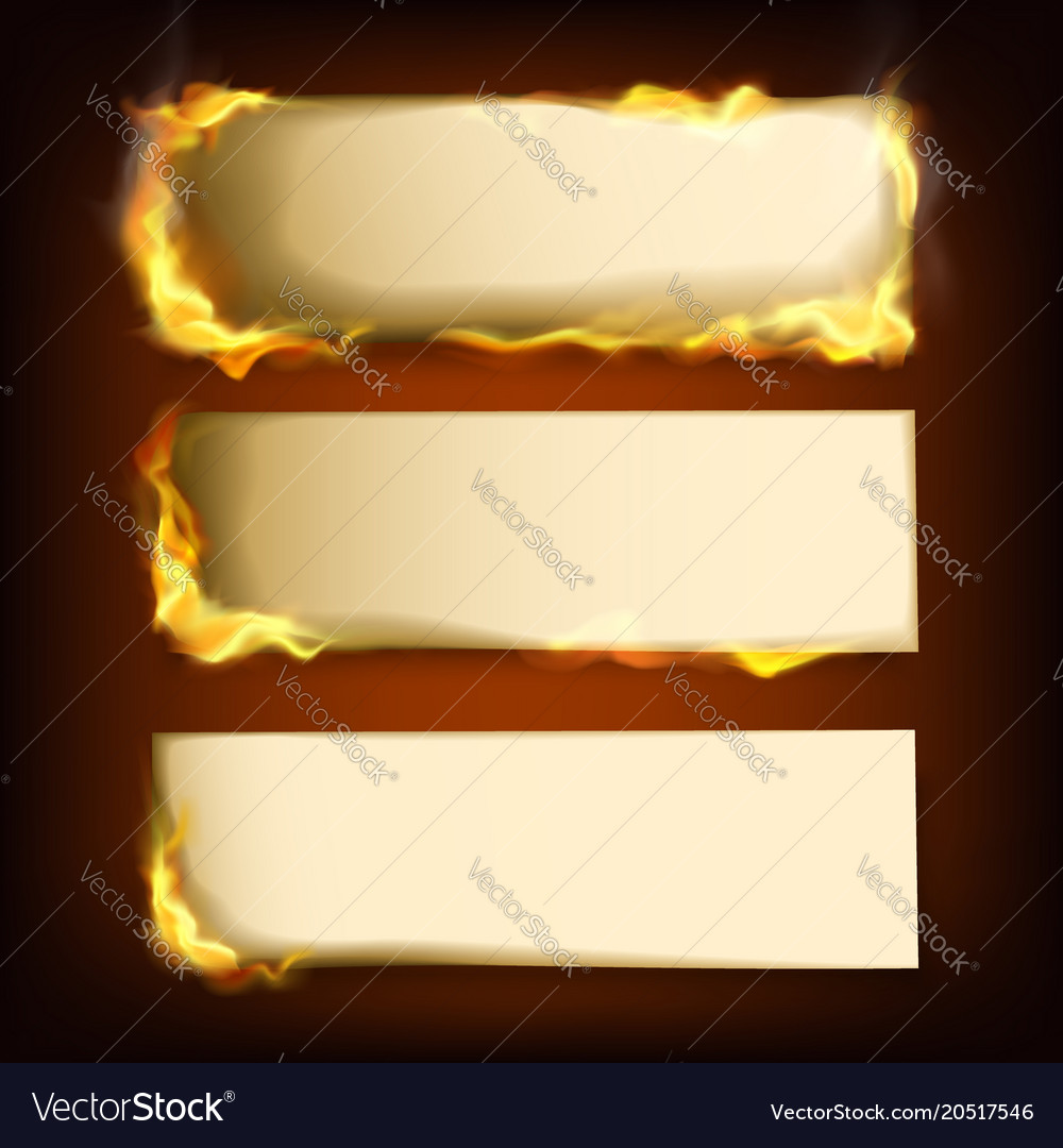 Burning papers set with different power of fire