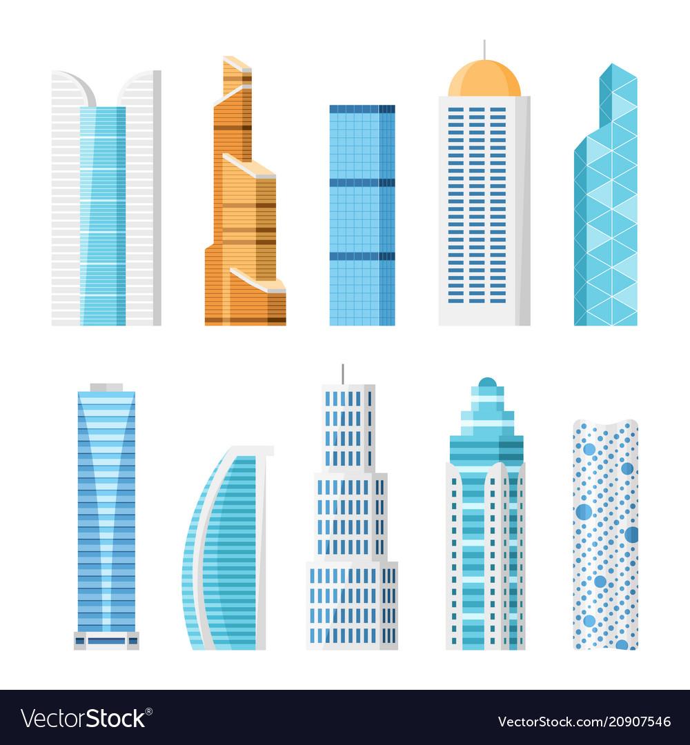 City skyscrapers isolated cartoon set