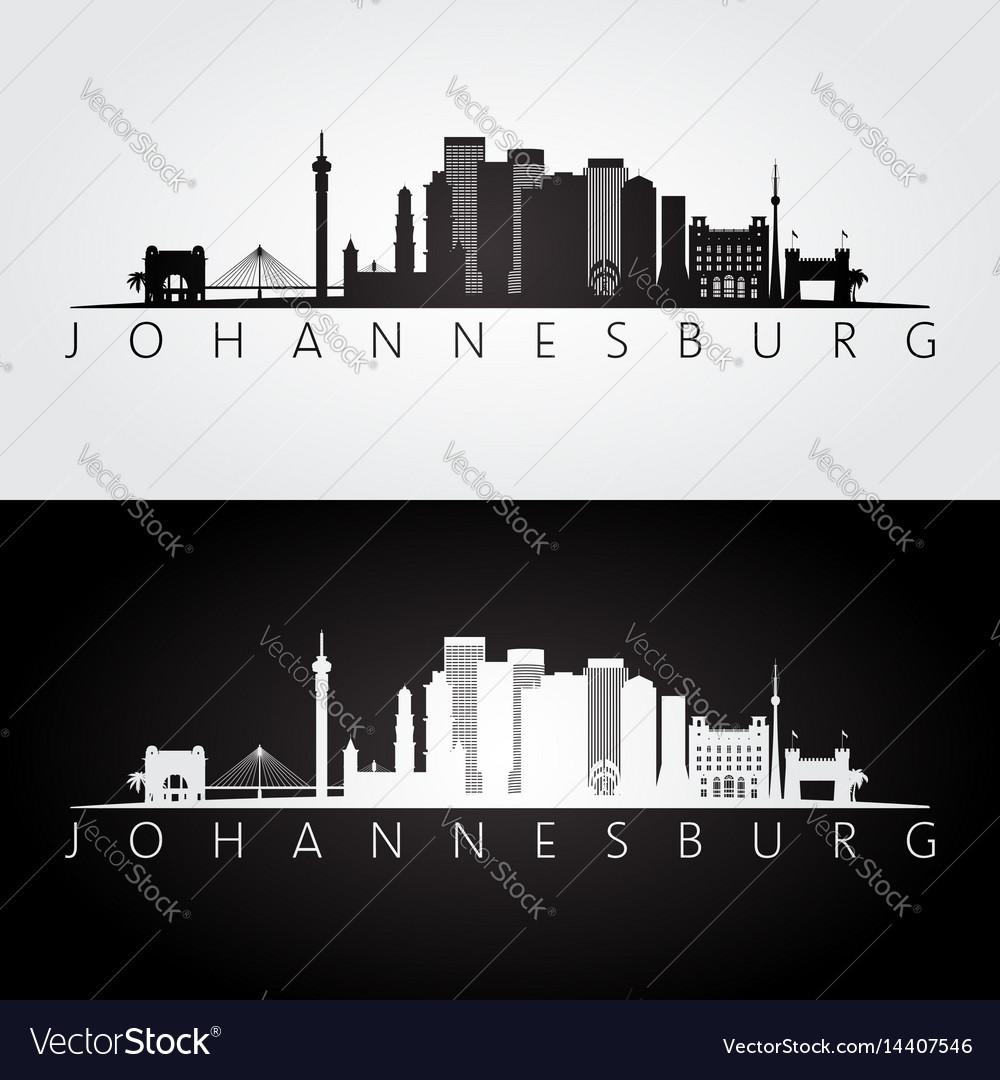 Johannesburg skyline and landmarks silhouette vector image altavistaventures Images