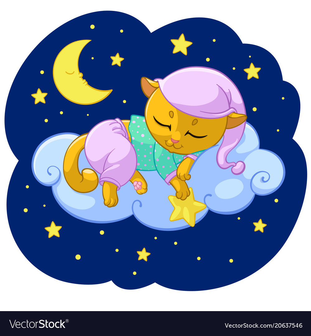 Kitty sleeping cartoon of