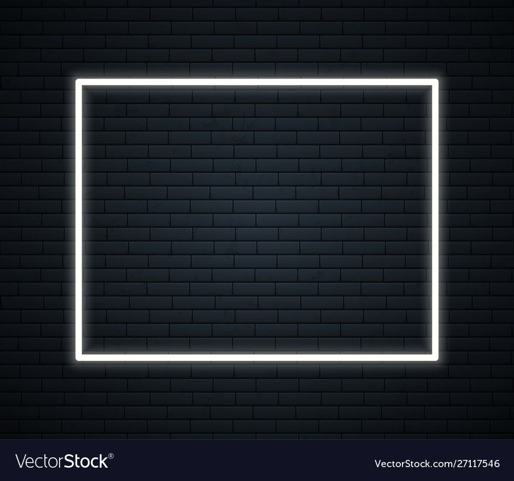 Neon frame with space for text on brick wall neon