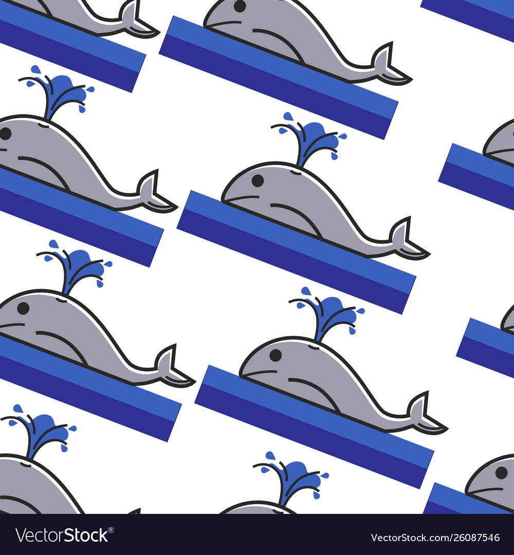 Norway whale in ocean seamless pattern giant