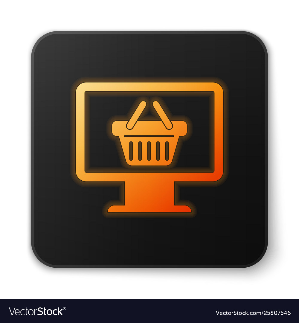 Orange glowing computer monitor with shopping
