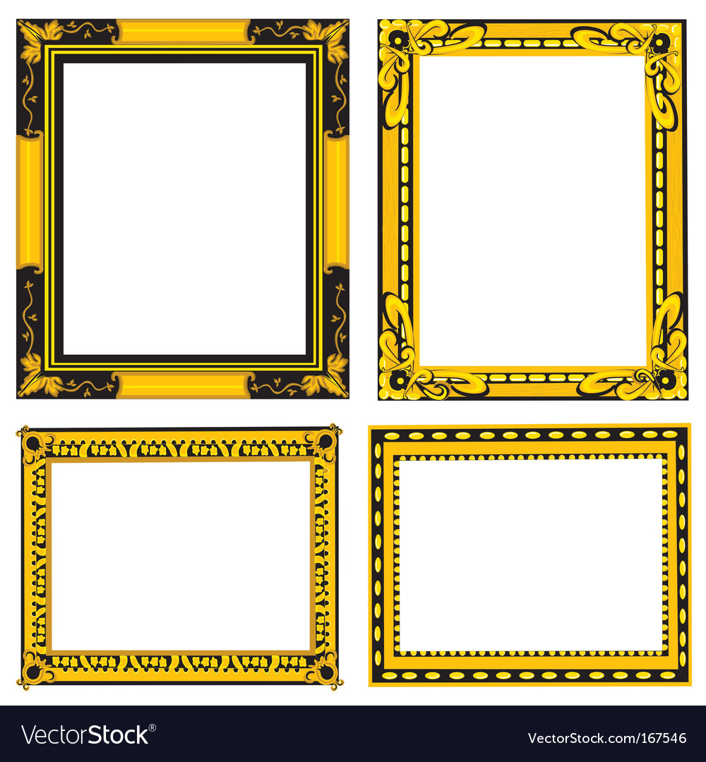 Ornate Gold And Black Frames Royalty Free Vector Image