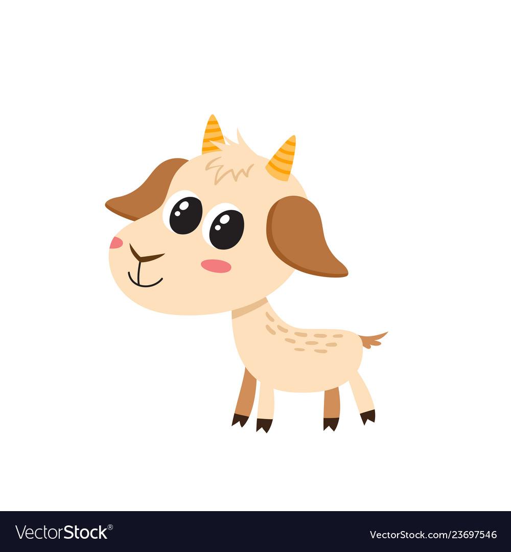 Set of cartoon funny goats isolated on