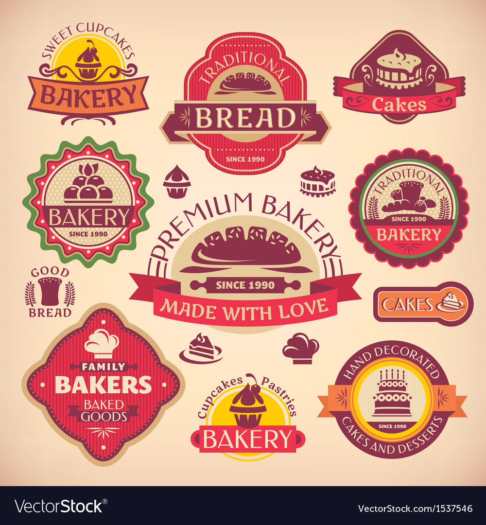 Set of vintage various bakery labels vector image