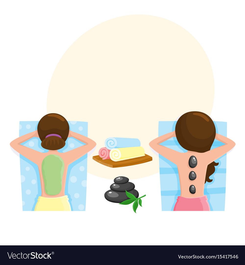 Woman getting stone massage and mud mask spa
