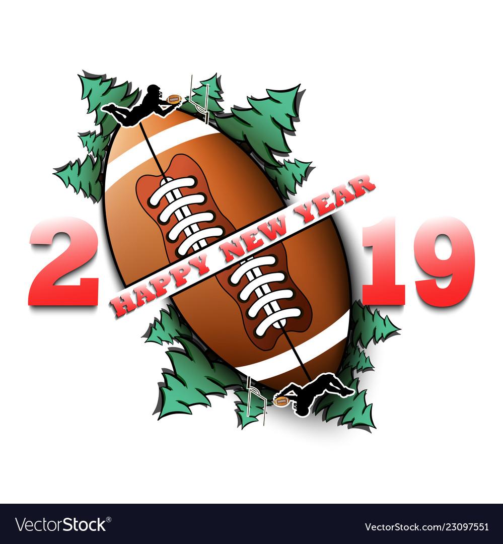 Happy New Year 2019 And Football Ball Royalty Free Vector