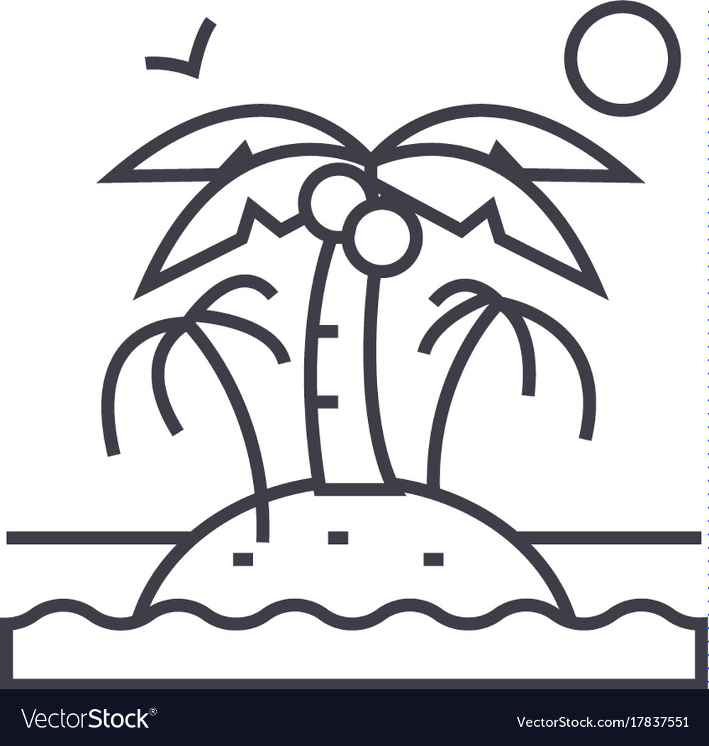 Island with palms line icon sign