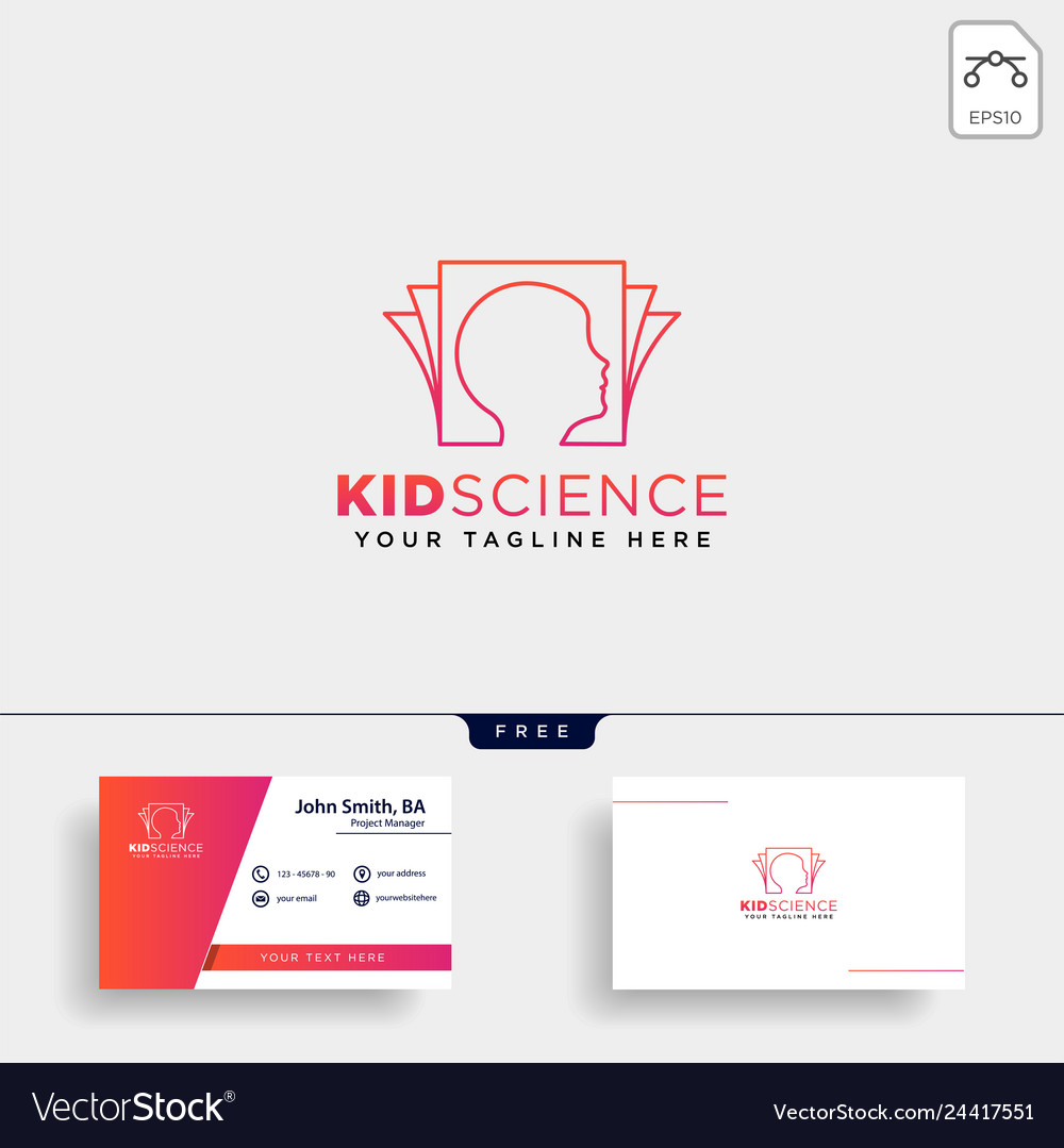 Kids learning science creative logo template icon