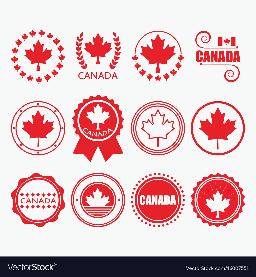Red canada flag emblems and design element set