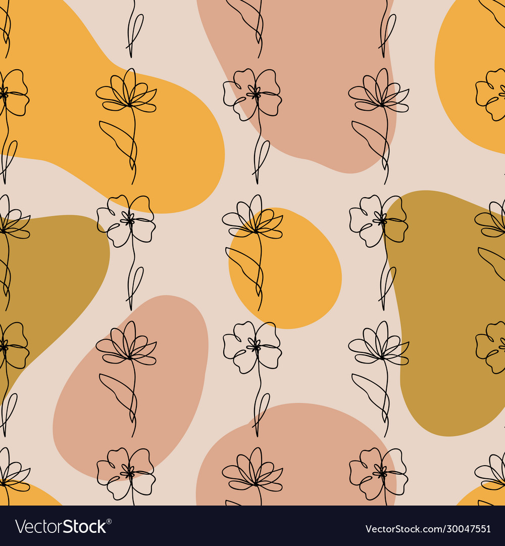 Seamless pattern one line drawing abstract