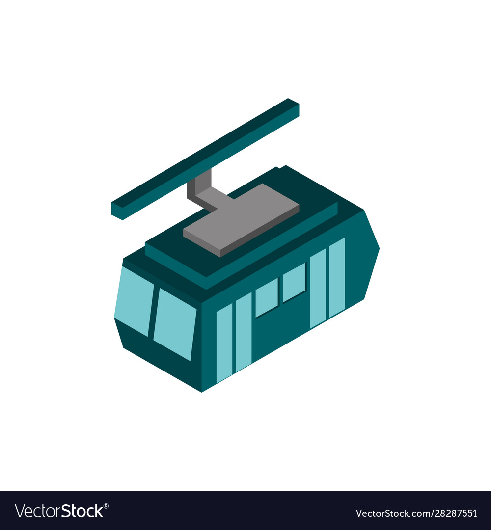 Transport cableway vehicle isometric icon
