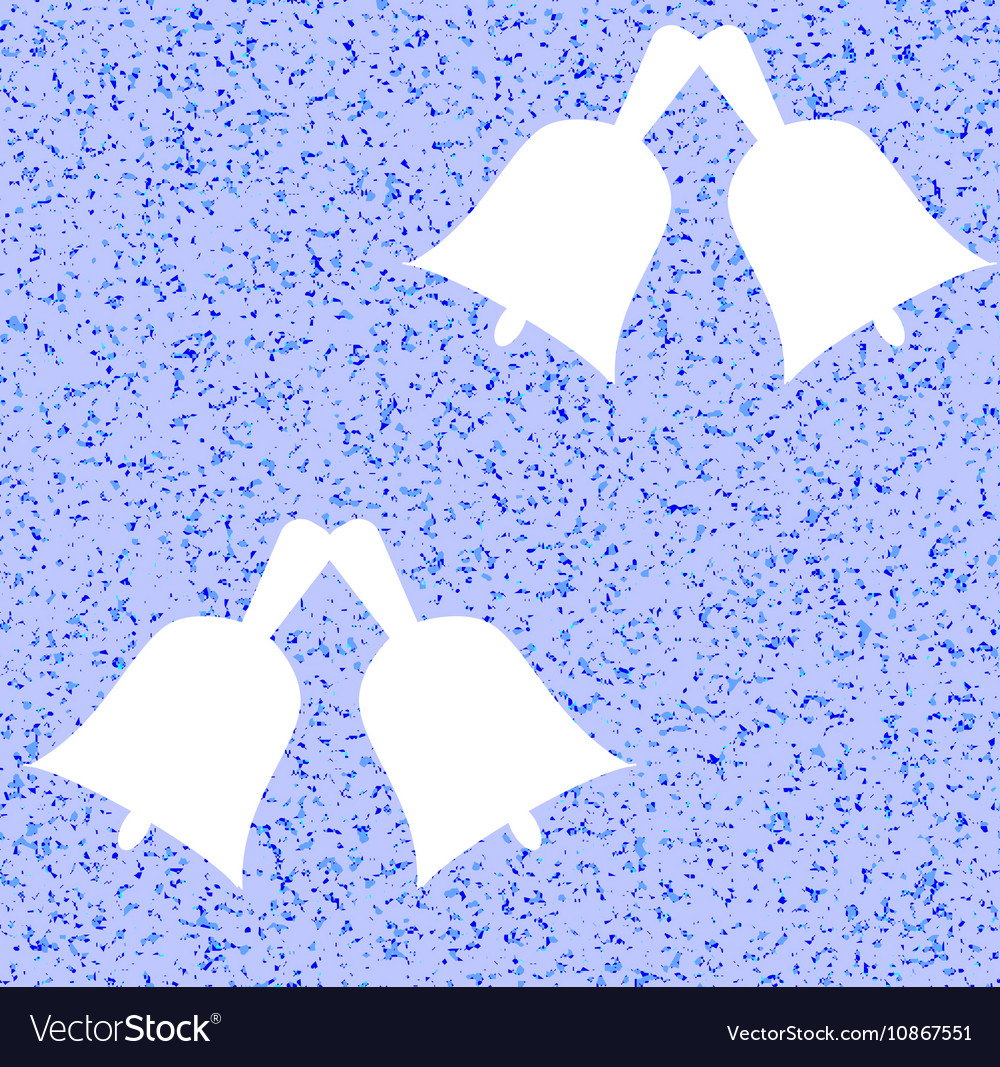 White bells on a blue background Winter pattern