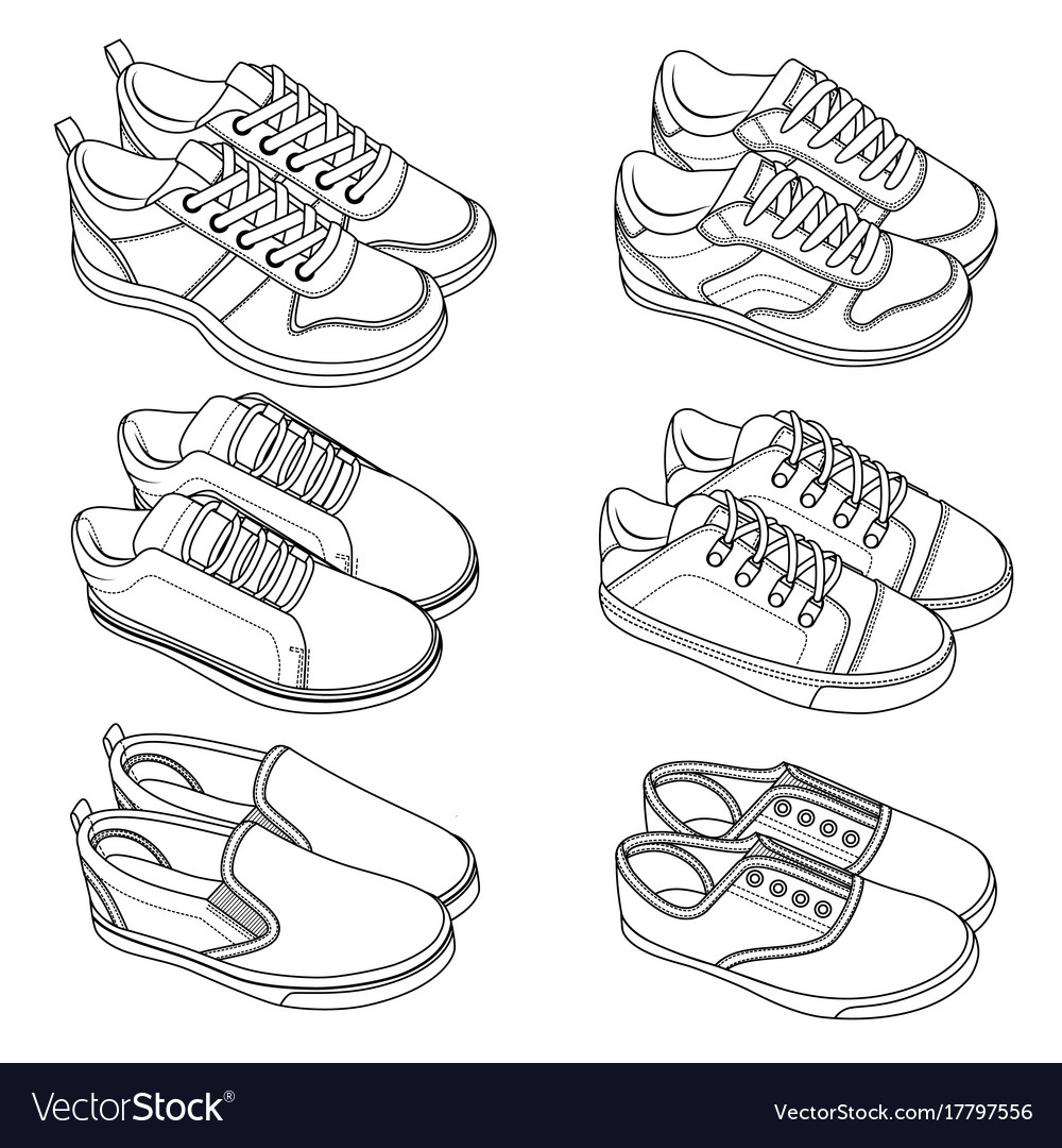 6 cool shoes sneakers sketch draw set vector image