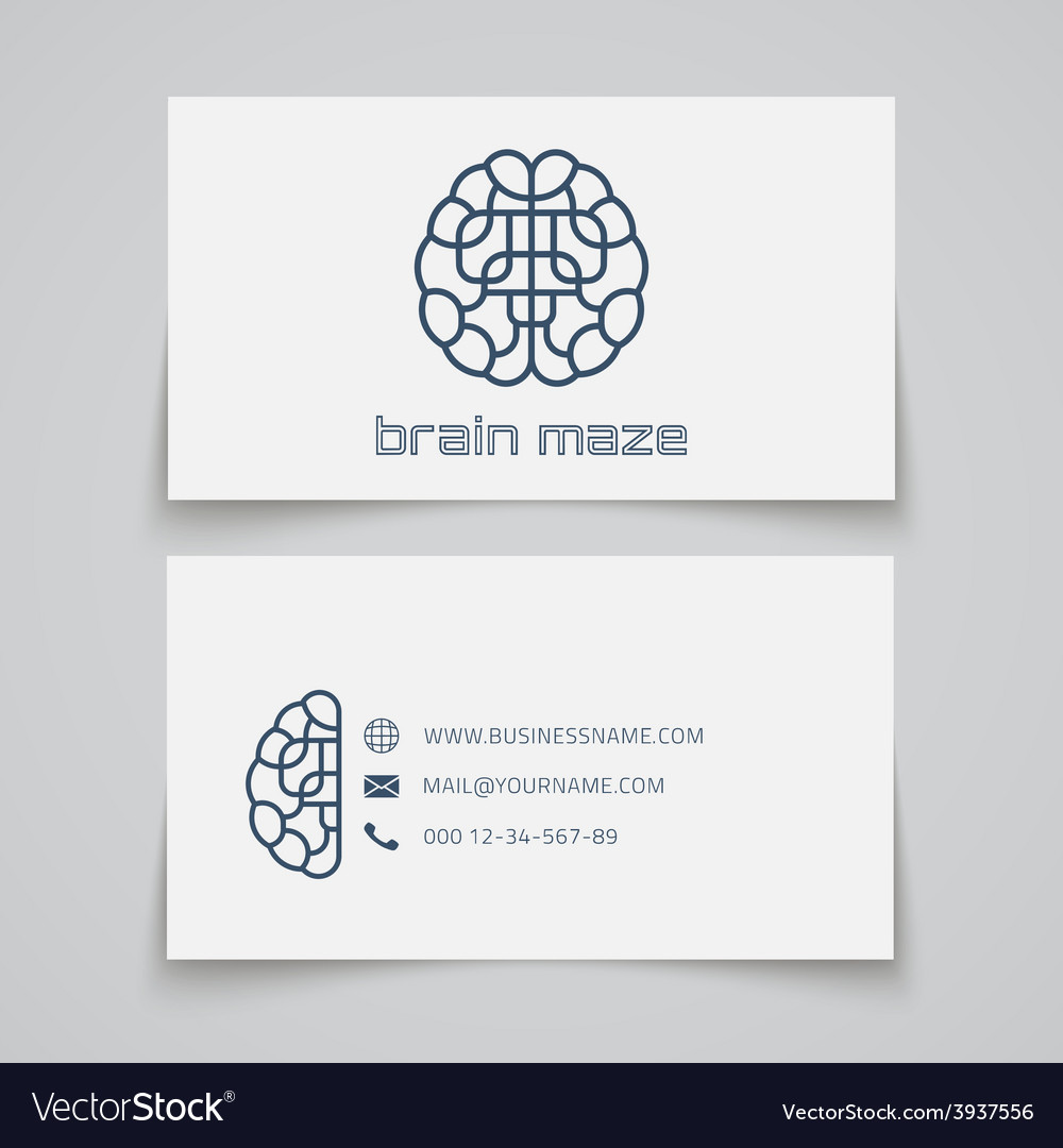 Business card template Brain maze logo Royalty Free Vector