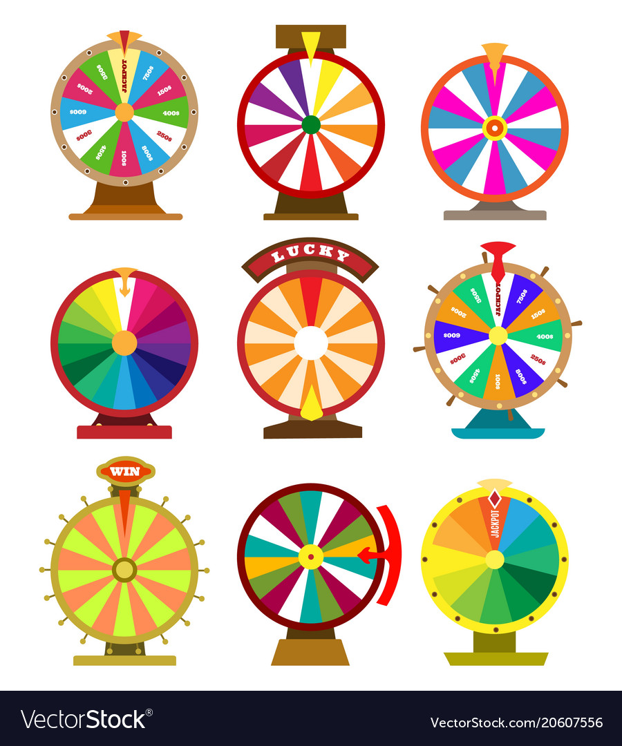 Fortune wheel icons vector image