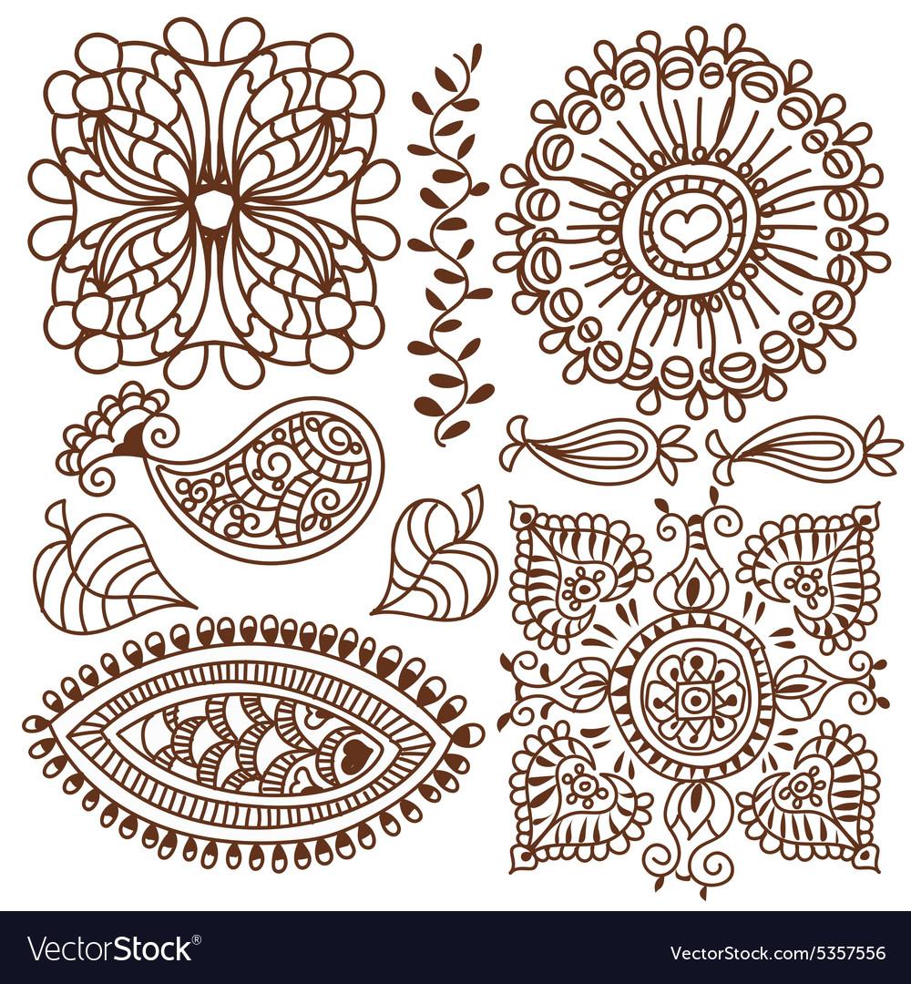 Henna tattoo doodle elements set