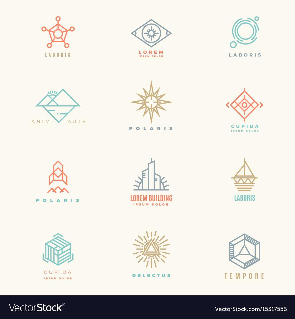 Minimal geometric vintage colors logo set